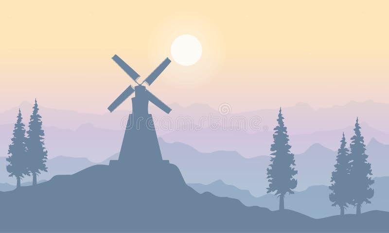 Krajobraz na wzgórzu z wiatraczkiem ilustracja wektor
