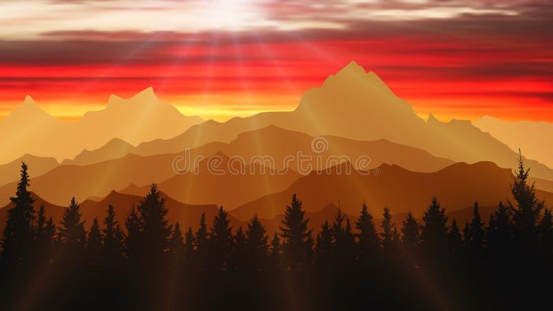 Krajobraz natura, góry i las przy zmierzchem, Podróży tło, ilustracja ilustracji
