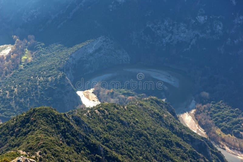 Krajobraz Nestos Rzeczny wąwóz blisko miasteczka Xanthi, Wschodni Macedonia i Thrace, Grecja obrazy stock