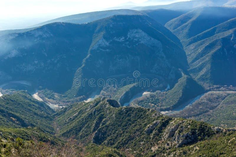 Krajobraz Nestos Rzeczny wąwóz blisko miasteczka Xanthi, Wschodni Macedonia i Thrace, Grecja zdjęcie royalty free