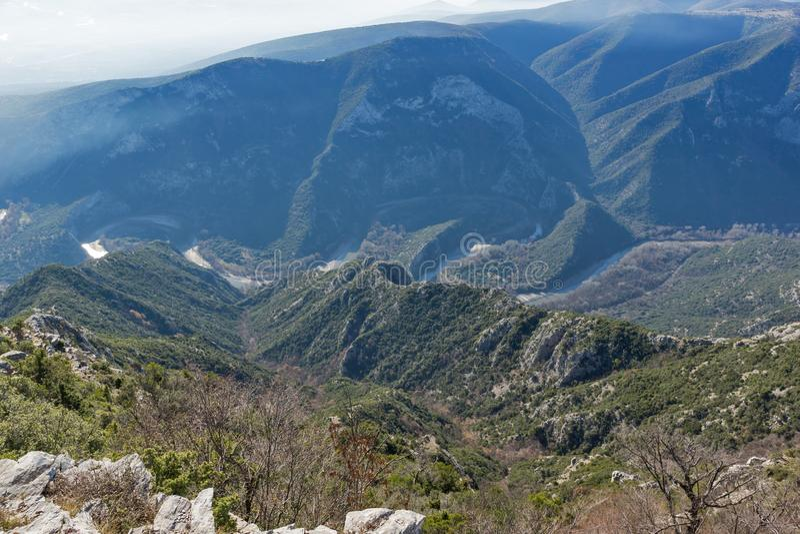 Krajobraz Nestos Rzeczny wąwóz blisko miasteczka Xanthi, Wschodni Macedonia i Thrace, Grecja zdjęcia royalty free