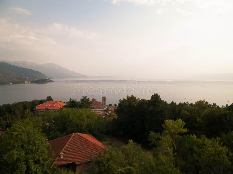 Krajobraz Ochrid jezioro, Macedonia zdjęcia royalty free