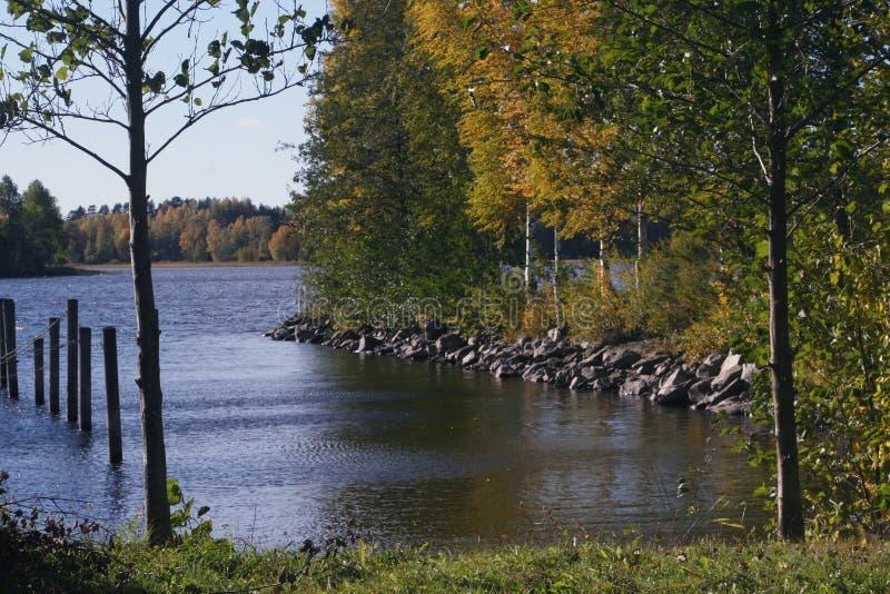 Krajobraz od plaży z jesień kolorami zdjęcie royalty free