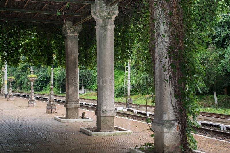 Krajobraz od starej stacji kolejowej w Europa obraz royalty free