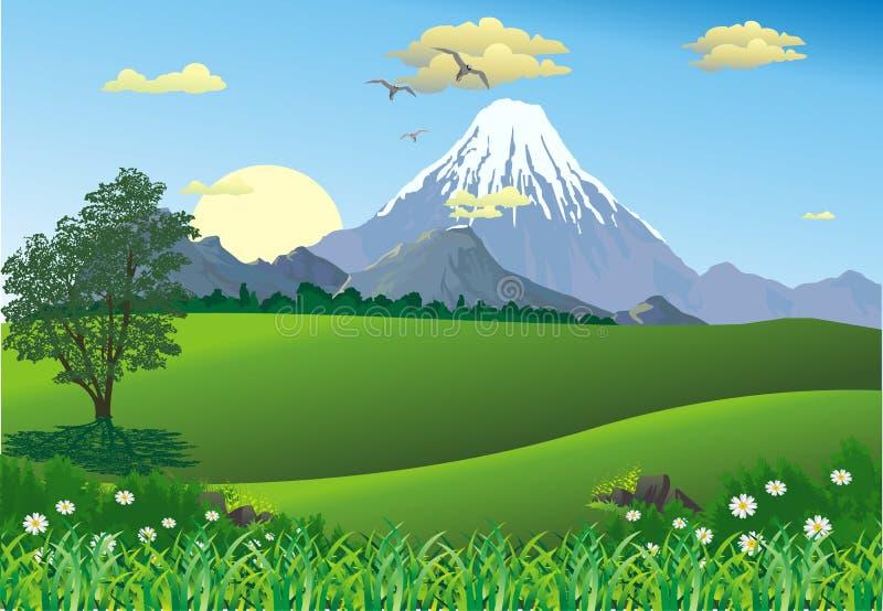 Krajobraz - pasmo górskie na horyzoncie ilustracja wektor