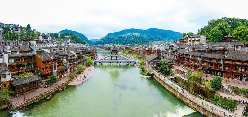 Krajobraz Phoenix antyczny townFenghuang, Hunan, Chiny obraz stock