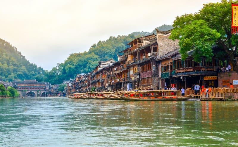 Krajobraz Phoenix antyczny townFenghuang, Hunan, Chiny obrazy stock