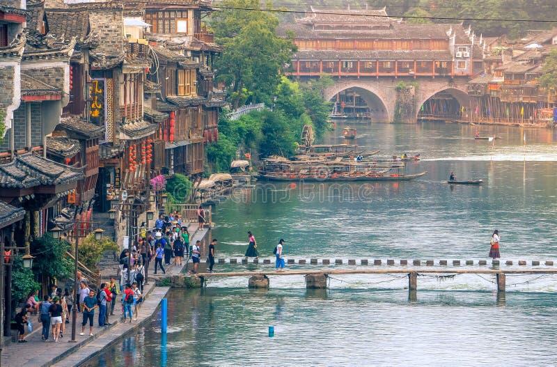 Krajobraz Phoenix antyczny townFenghuang, Hunan, Chiny zdjęcia stock