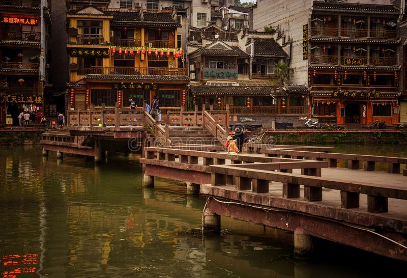 Krajobraz Phoenix antyczny townFenghuang, Hunan, Chiny fotografia stock