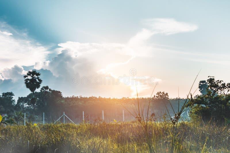 Krajobraz piękny niebo z słońce promieniem nad spokój natury bac zdjęcia royalty free