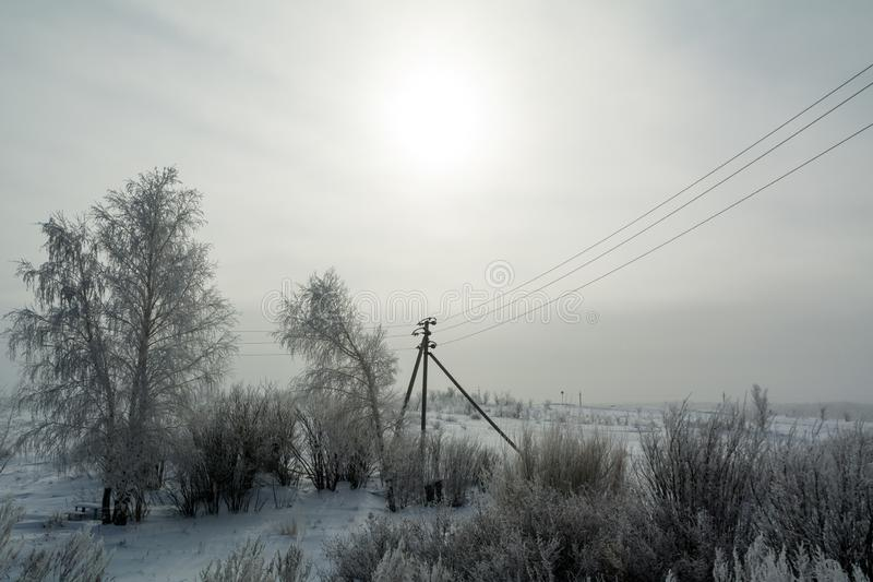 Krajobraz południowi Urals w zimie zdjęcia royalty free