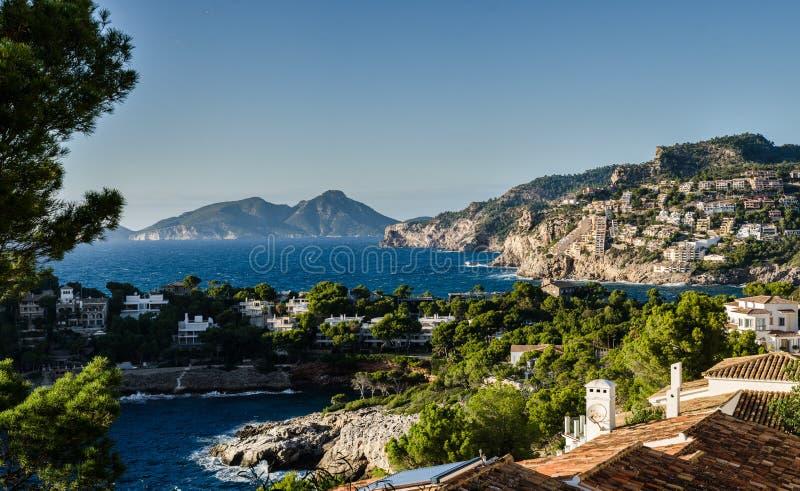 Krajobraz portu andratx, majorca, wyspy balearskie, hiszpania zdjęcia royalty free