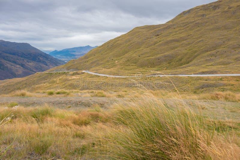 Krajobraz przy korony pasma droga, Wanaka, Nowa Zelandia obrazy stock