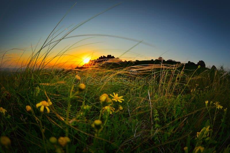 Krajobraz przy zmierzchem, wschodem słońca/ zdjęcie stock