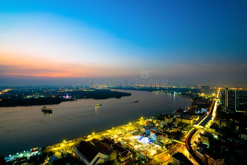 Krajobraz rzeki Chao phraya obrazy royalty free