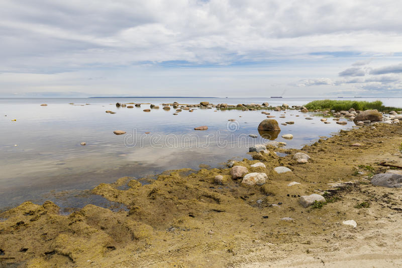 Krajobraz seashore pełno skały obraz stock