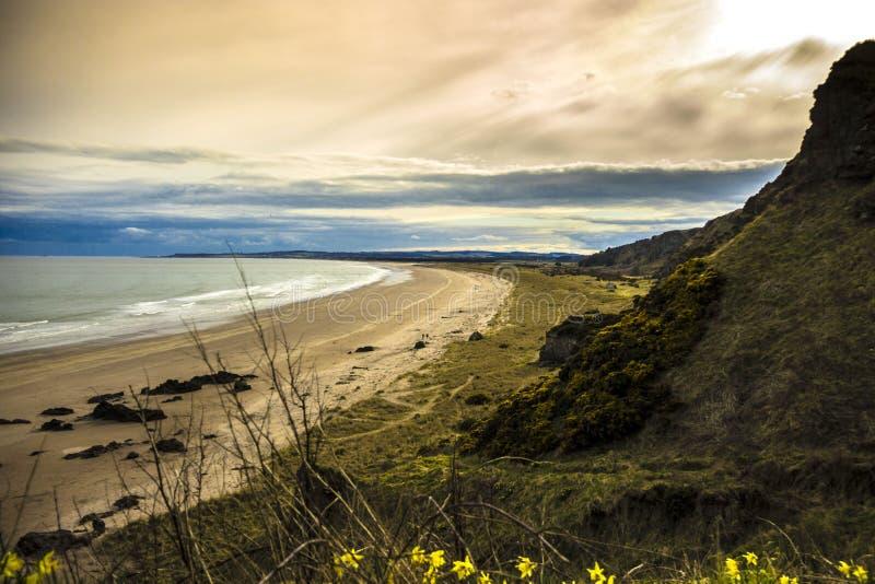 Krajobraz szkocki St Cyrus Beach, Montrose, Aberdeenshire, Szkocja, Zjednoczone Królestwo obrazy royalty free