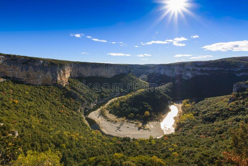 Krajobraz wąwozy De L ` Ardeche w Francja zdjęcia royalty free
