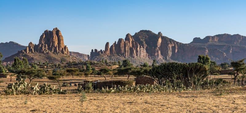 Krajobraz w Gheralta blisko Abraha Asbaha w P??nocnym Etiopia, Afryka zdjęcia stock
