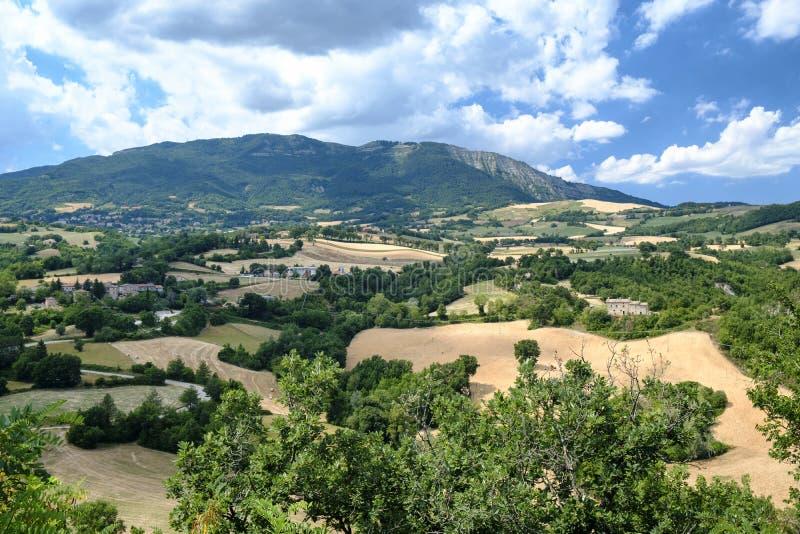 Krajobraz w Montefeltro od Frontino marszów, Włochy fotografia royalty free