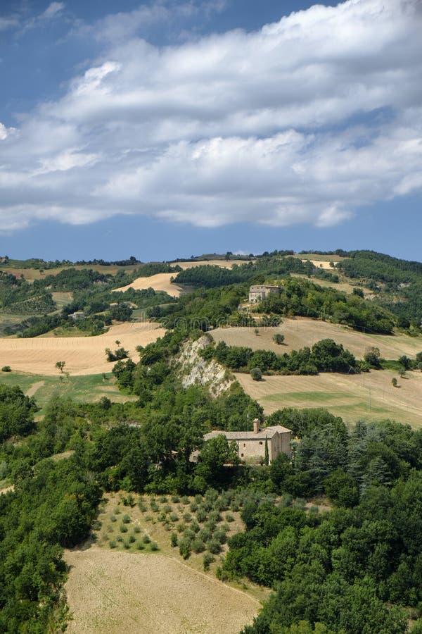 Krajobraz w Montefeltro od Frontino marszów, Włochy zdjęcie stock
