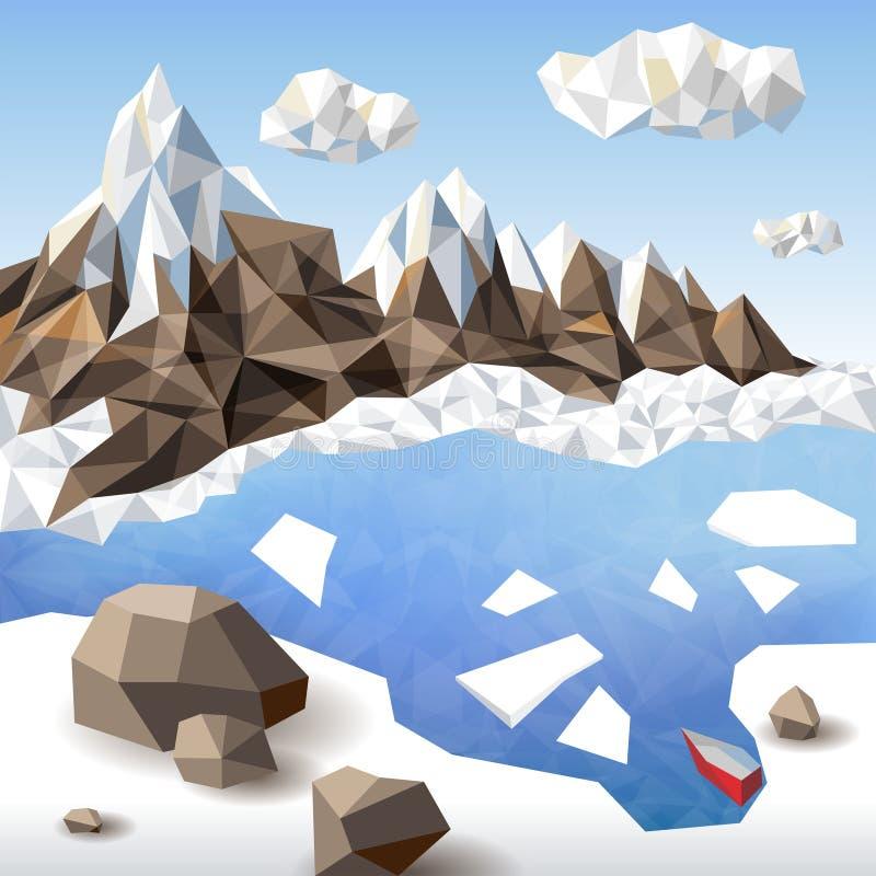 Krajobraz w origami stylu royalty ilustracja