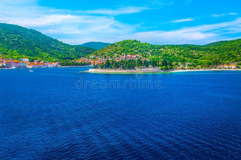 Krajobraz w południe Chorwacja, wyspa Vis zdjęcia stock