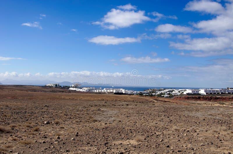 Krajobraz w wyspie kanaryjska Lanzarote, Hiszpania zdjęcie royalty free