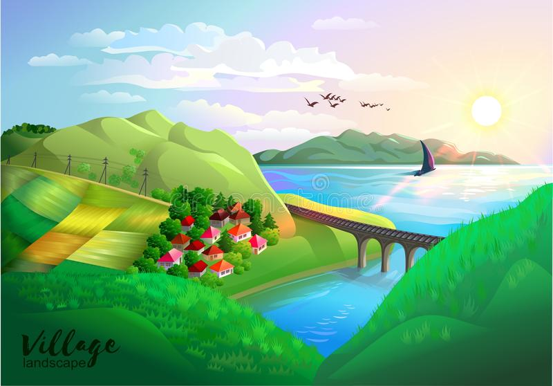 Krajobraz wioska ilustracji