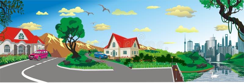 Krajobraz - wioska przy stawem, panorama royalty ilustracja
