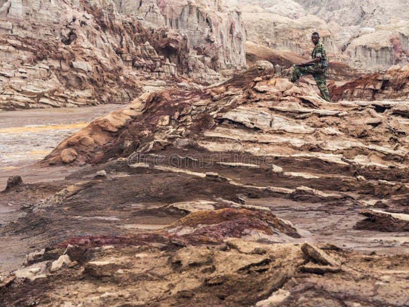 Krajobraz wokoło jeziornego Dallol w Danakil depresji, Ehtiopia obraz royalty free
