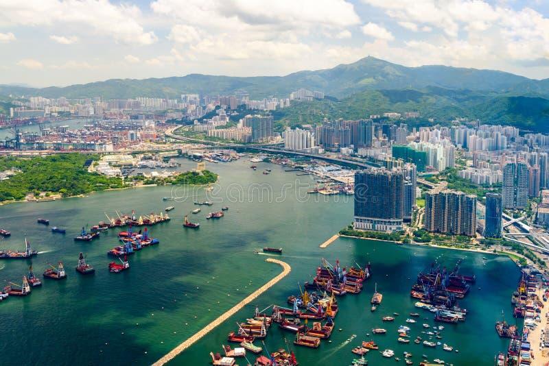Krajobraz wzdłuż Nowego Yau Ma Tei tajfunu schronienia w Hong Kong obraz stock
