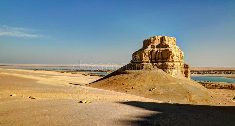 Krajobraz wzgórze blisko wadiego El Rayan, Faiyum Egipt obraz royalty free