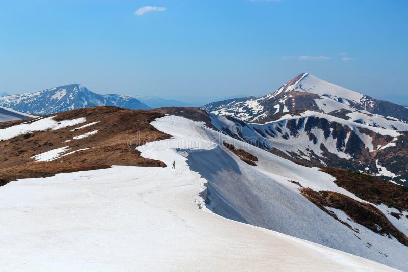 Krajobraz z łąkami, wysokimi górami i szczytami zakrywającymi z śniegiem, Mężczyzna w skrótach zostaje przy krawędzią otchłań zdjęcie stock