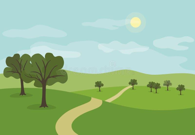 Krajobraz z ścieżką przez lat zielonych wzgórza i łąki z t ilustracji