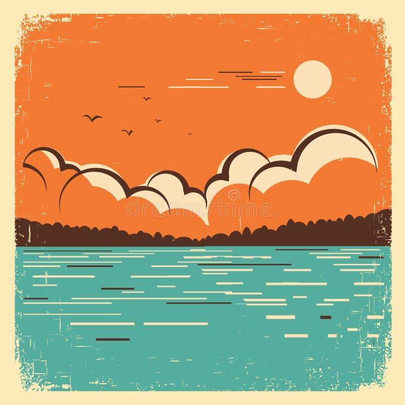 Krajobraz z błękitnym dużym jeziorem na starym plakacie ilustracja wektor