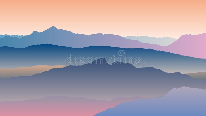 Krajobraz z błękitnymi pomarańczowymi sylwetkami góry ilustracji