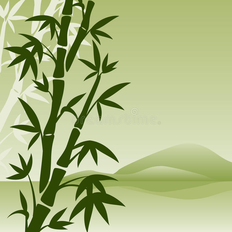 Krajobraz z bambusem ilustracja wektor