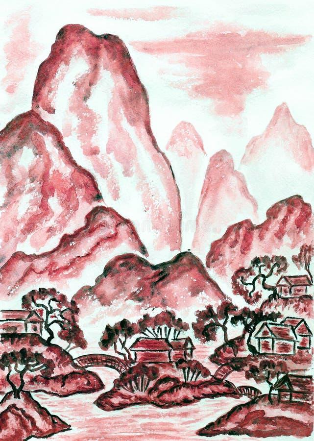 Krajobraz z czerwonymi górami, maluje ilustracja wektor