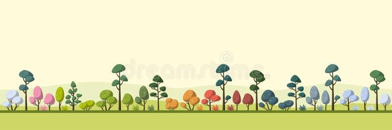 Krajobraz Z drzewami, Cztery sezonu ilustracja wektor