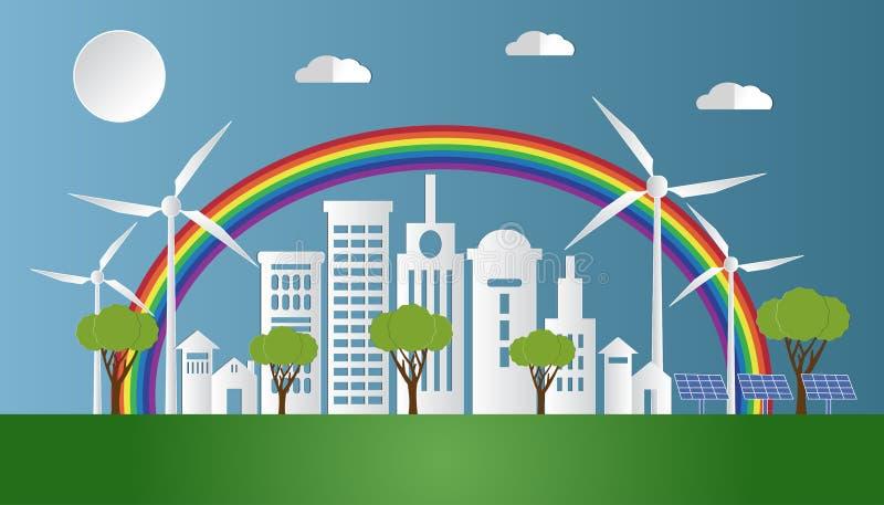Krajobraz z Eco zieleni miastem i naturą, Ekologicznie życzliwy świat Wektorowa ilustracja, Papierowy sztuka styl ilustracja wektor
