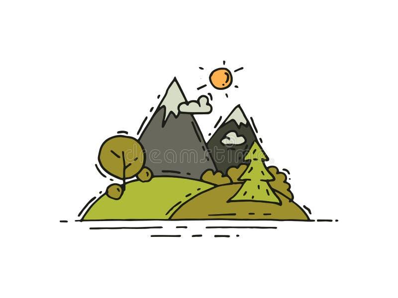Krajobraz z górami, zieleni drzewa i łąki w doodle, projektujemy przygoda plenerowa Campingowy temat 10 tło projekta eps techniki ilustracji