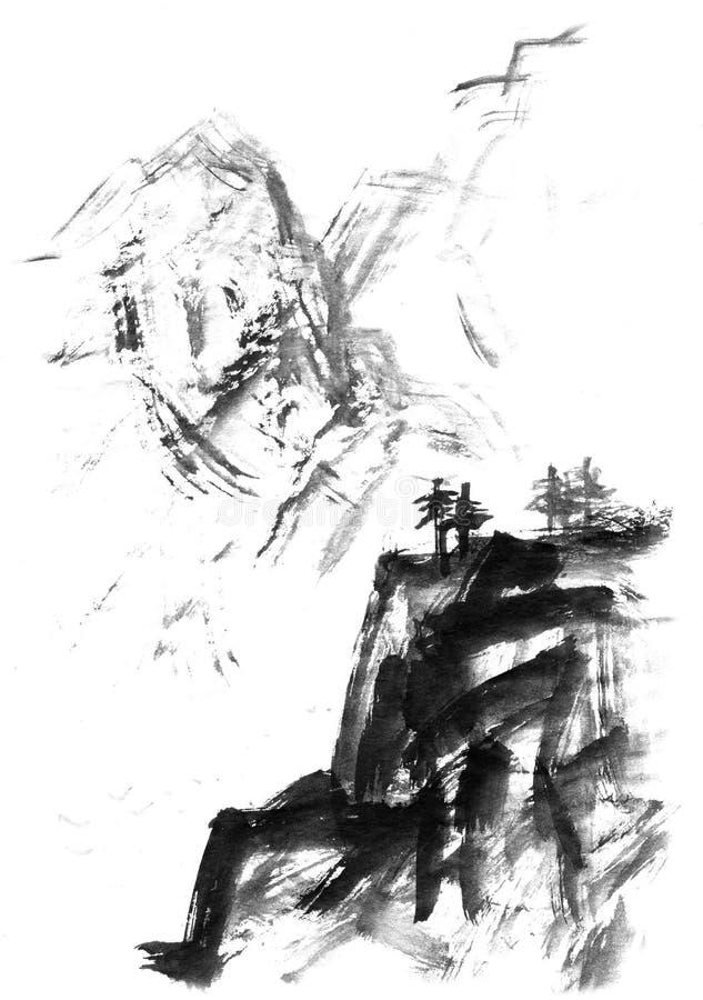 Krajobraz z górami i drzewami, ręka rysująca z atramentem Tradycyjny Japoński atramentu obrazu sumi-e royalty ilustracja