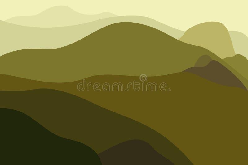Krajobraz z górami i lasowym plakatem dla turystyki z naturalnym środowiskiem, parki narodowi, czysty środowisko ilustracja wektor