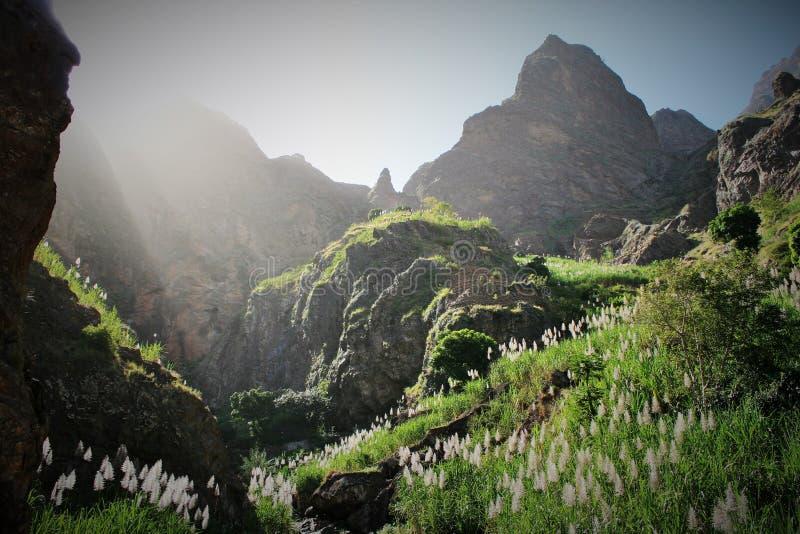 Krajobraz z górami i roślinnością w Santa antao wyspie przylądka verde obraz royalty free