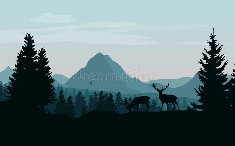 Krajobraz z górami, lasem i sylwetkami drzewa a błękitnymi, ilustracji