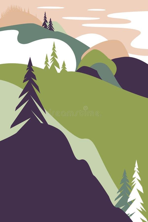 Krajobraz z górami Plakat dla turystyki z naturalnym środowiskiem, parki narodowi, czysty środowisko royalty ilustracja