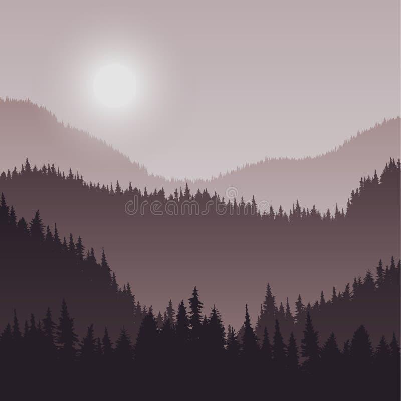 Krajobraz z jedlinowymi drzewami ilustracji