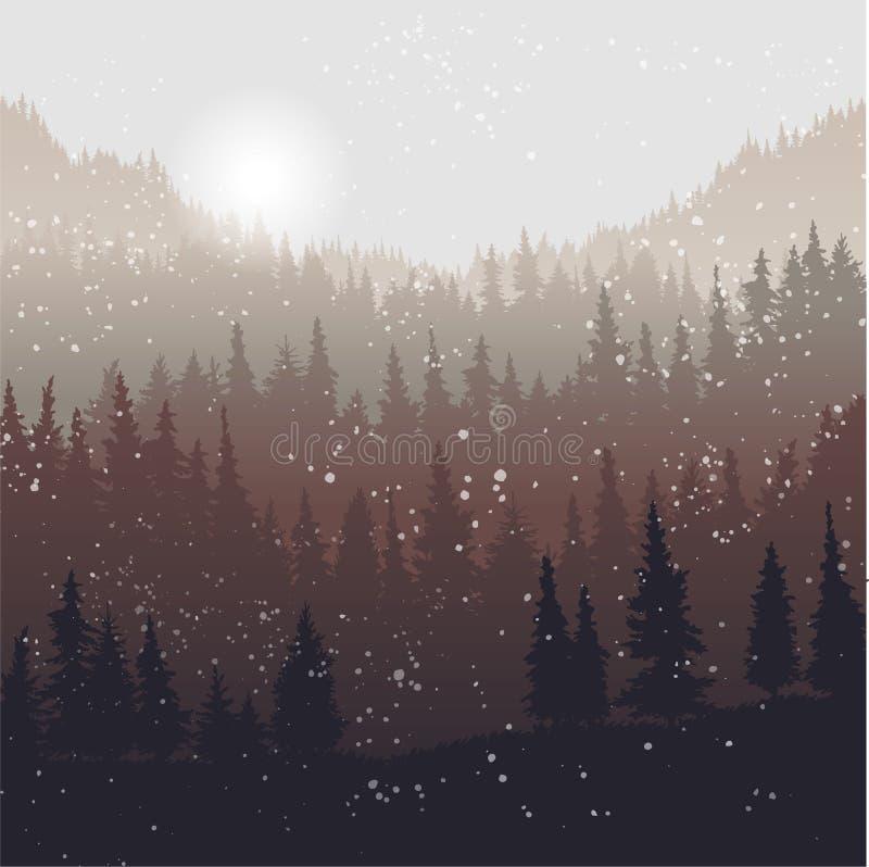 Krajobraz z jedlinowymi drzewami i śniegiem ilustracja wektor