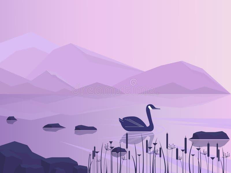 Krajobraz z jeziorem, zatoka lub góry na horyzoncie Gęsi Canada Kanadyjski natury tło z jeziorem i ptakiem mieszkanie ilustracja wektor